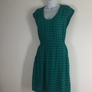 Old Navy Green Blue Vertical Stripes Cap Sleeves